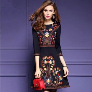 NWT- Black Embroidered Dress; Mexican Art Style